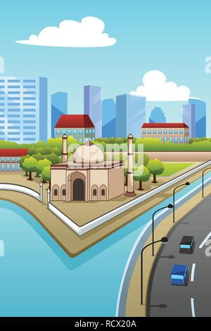 A vector illustration of Mosque in the City - Stock Image