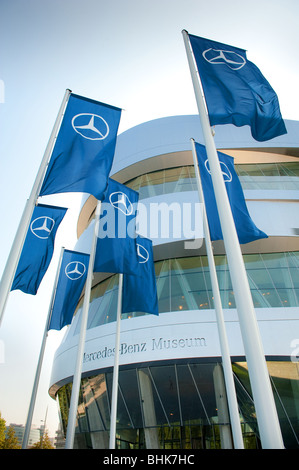 image of mercedes benz museum entrance with logo on banners stuttgart - Stock Image