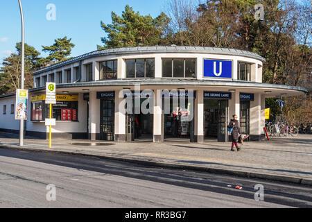 Berlin- Zehlendorf. Krumme Lanke U-Bahn Railway Station exterior view & entrance.      The railway station is the southwestern terminus of the U3 Line - Stock Image