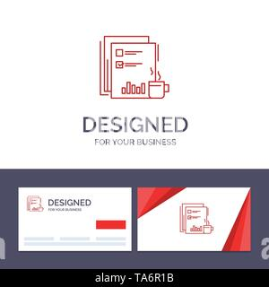 Creative Business Card and Logo template Coffee, Financial, Market, News, Newspaper, Newspapers, Paper Vector Illustration - Stock Image