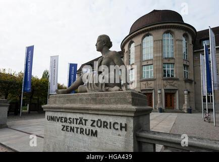 Entrance to Zurich university (city campus) at Zurich, Switzerland. - Stock Image
