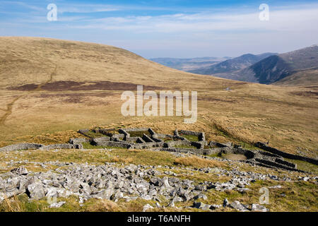 Old traditional sheepfolds between Gyrn and Moel Wnion in hills of northern Snowdonia National Park. Bethesda, Gwynedd, north Wales, UK, Britain - Stock Image