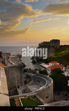 Looking from the city walls across the Pile Gate to Fort Lawrence, Old Town of Dubrovnik, Croatia - Stock Image