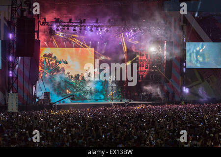 London, UK, 3rd July 2015. Drake, New Look Wireless Festival, Finsbury Park  Credit:  Robert Stainforth/Alamy Live - Stock Image