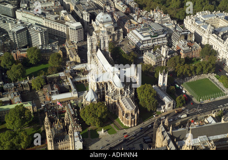 Aerial View of Westminster Abbey in London, also known as the Collegiate Church of St Peter, Westminster - Stock Image