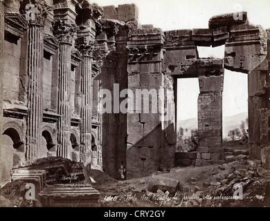 Porte du Temple de Jupiter, Baalbek, Lebanon, ca 1870, by Felix Bonfils - Stock Image