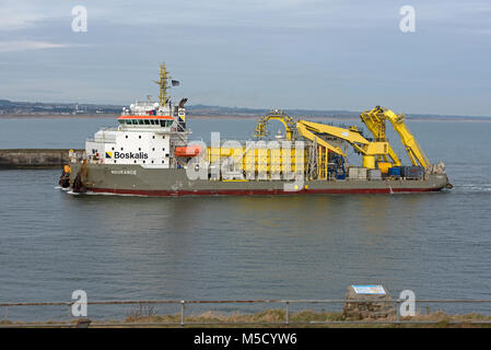 The Boskalis 'Ndurance' dredger and calbe laying vessel on its return to the  Grampian harbour of Aberdeen - Stock Image