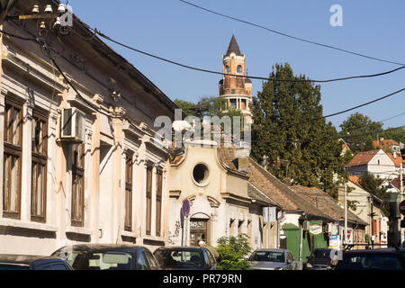 Old part of Zemun - Lagumska street with a view to the Gardos tower. Belgrade, Serbia. - Stock Image