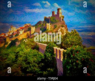 FINE ART: Monte Titano at San Marino - Stock Image