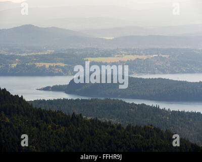 View towards Cowichan Bay on Vancouver Island from Baynes Peak at the summit of Mount Maxwell, Salt Spring Island, - Stock Image
