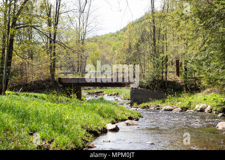 Old neglected bridge over Robbs Creek in the Adirondack Mountains, NY USA - Stock Image