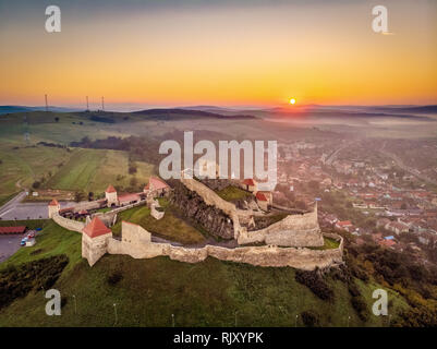 Aerial view of Romania Rupea Fortress at sunrise, Romania symbol in Transylvania - Stock Image
