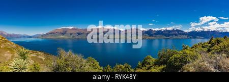Aerial drone view of north side of Lake Wanaka at Makarora, South Island, New Zealand - Stock Image