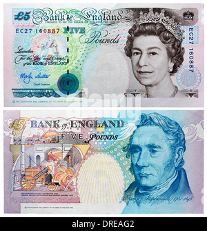 5 Pounds banknote, Queen Elizabeth II and George Stephenson, UK, 1999 - Stock Image