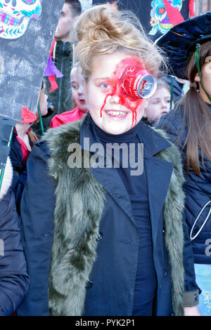 Ayrshire, UK. 28th Oct, 2018. Children taking part in the 'Day O' The Deid' procession which is the finale of the 2 day TamFest event in Ayr. Credit: PictureScotland/Alamy Live News - Stock Image