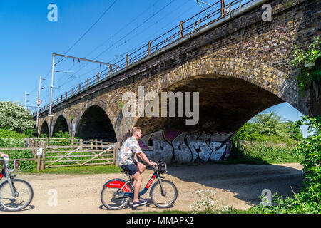Railway arches used by A.V. Roe to assemble the Roe 1 triplane, first British aeroplane, in 1909, Walthamstow Marshes, London England - Stock Image