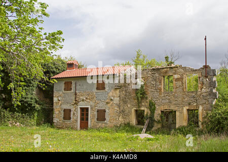 Abandoned, Often Only Weekends And Partly Decayed Houses Idyllic With Plants Overgrown The Idyllic Landscape - Stock Image