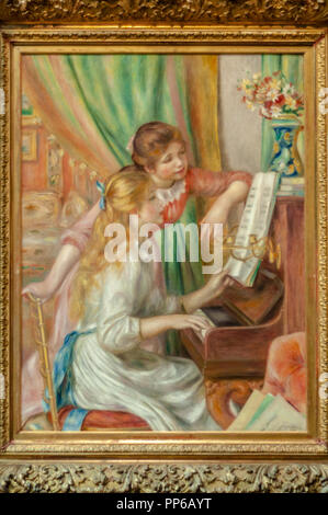 Pierre-Auguste Renoir-Young Girls at the Piano 1892. Musée d'Orsay; Paris - Stock Image
