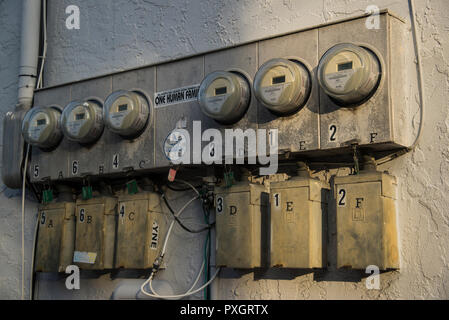meters for electricity in Key West Florida - Stock Image