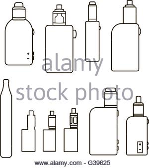 Linear vaping icons set - Stock Image