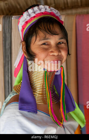 Woman From The Padaung Long Neck Hill Tribe, Tha Ton, Chiang Mai Province, Thailand - Stock Image