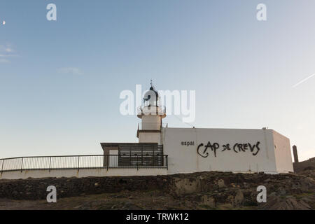 CADAQUES, SPAIN - FEBRUARY 2, 2018: Lighthouse of the Cap de Creus Natural Park, the westernmost point of Spain, where the sun first rises. Cadaques, - Stock Image