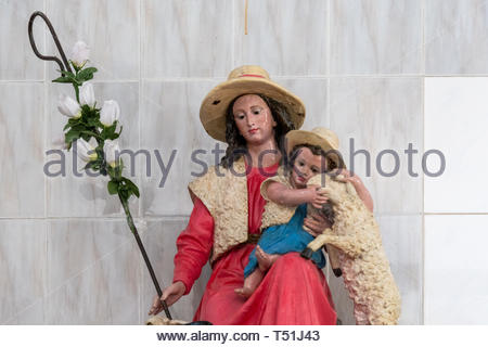 Catholic image of the 'La Pastora' (Shepherdess) virgin. The symbol is found in a poor church of the same name in the city. - Stock Image