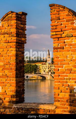 Santa Eufemia tower at dusk from the Castelvecchio in Verona, Italy - Stock Image