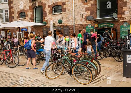 UK, England, Devon, Exeter, River Exe Quayside , Saddles and Paddles bike hire businesses - Stock Image