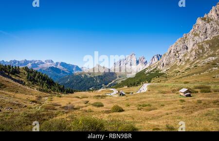 Beautiful mountain landscape around the Pass Pordoi. Dolomites, Trentino Alto Adige, northern Italy. - Stock Image