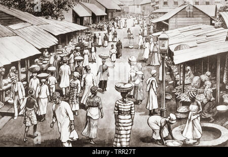 Freetown, Sierra Leone.  After a work by J. Macfarlane. From a contemporary print c.1935. - Stock Image