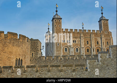 The Tower of London is an iconic landmark popular with tourists. - Stock Image