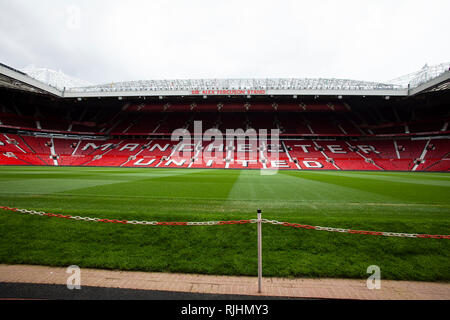 View inside the Old Trafford football stadium of Manchester United 'Theatre of Dreams' on a non match day - Stock Image