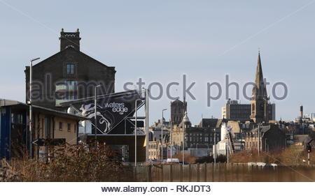 Water's Edge City Quay and skyline Dundee Scotland  January 2019 - Stock Image