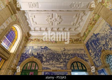 Azulejo, central station Sao Bento, Porto, Region Norte, Portugal, Porto, - Stock Image