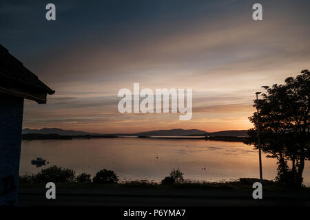 Sunset over Loch Etive at Connel nr Oban, Scotland, during the heatwave of June 2018 - Stock Image