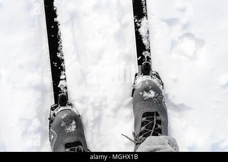 Pair of new cross-country skis and grey ski boots on a white winter snow background with copy space area for wintery themed sports and Nordic skiing d - Stock Image