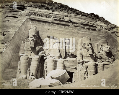 Nubie Temple d'Abou-Simbel, ca 1880, by Felix  Bonfils - Stock Image