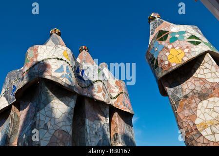 Casa Batllo rooftop chimneys designed by Antoni Gaudi, Barcelona, Spain - Stock Image