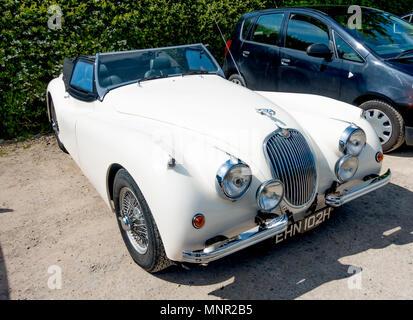 A 1969 registered white Jaguar XK replica  sports roadster motor car - Stock Image