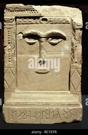"""6410. Decorated altar from the Nabatean Temple of the Winged Lions in Petra. The inscription reads: """"Goddess of Hayyan son of Nybat"""". - Stock Image"""