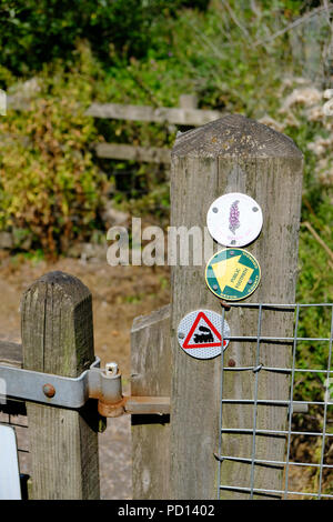 Badges on a wooden post point the way to the East Devon Way public footpath in Exmouth, Devon, England, UK - Stock Image