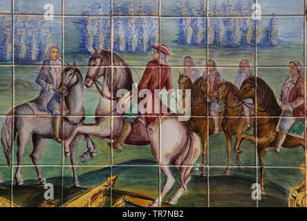War of the Spanish Succession. Battle of Almasa, 1707. Tile panel, Spain square, Seville. Spain. - Stock Image