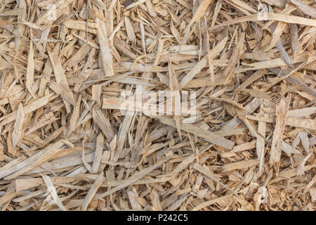 Tangled mass of shredded wood chips. - Stock Image