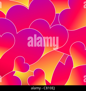 abstract background with pink heart shapes vector illustration - Stock Image