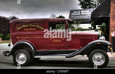 Vintage style van at Karl Welsh flower shop, Knutsford Road, Grappenhall, Warrington UK WA4 - Stock Image