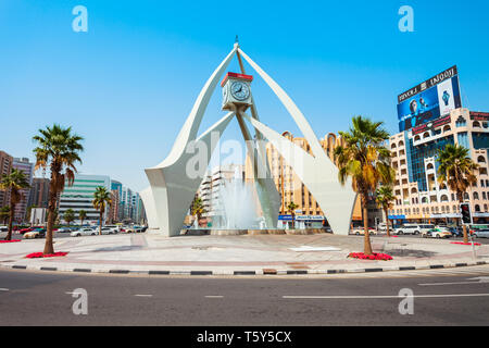 DUBAI, UAE - FEBRUARY 24, 2019: Deira Clock Tower is a landmark located in Deira region of Dubai in UAE - Stock Image