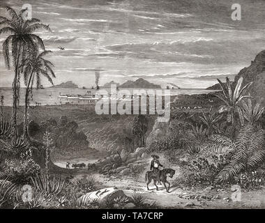 View of Panama City, Panama, Central America, seen here in the late 19th century.  From La Ilustracion Iberica, published 1884. - Stock Image
