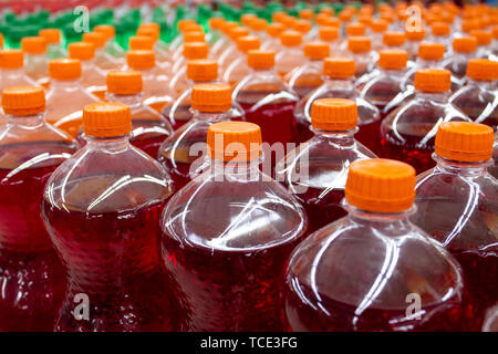 Close-up of plastic soda bottles - Stock Image