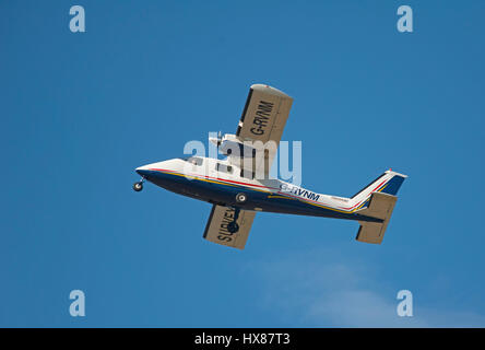 A Parentavia P-68B Victor operating out of Inverness airport on survey work in the Scottish Highlands. UK. - Stock Image